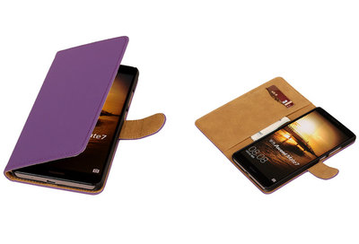 Paars Hoesje voor Huawei Ascend Mate 7 Book/Wallet Case/Cover