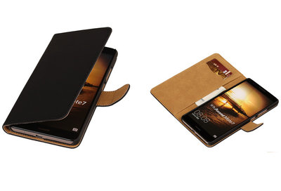 Zwart Hoesje voor Huawei Ascend Mate 7 Book/Wallet Case/Cover