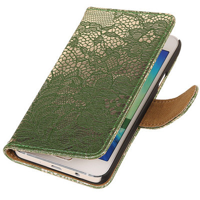 Lace Donker Groen Hoesje voor Microsoft Lumia 535 Book/Wallet Case/Cover