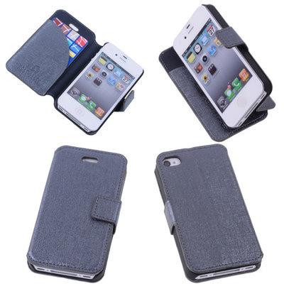 Grey Hoesje voor Apple iPhone 4 4s s Book/Wallet Case/Cover