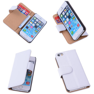 Wit Effen Apple iPhone 5 5s Hoesjes Book/Wallet Case/Cover