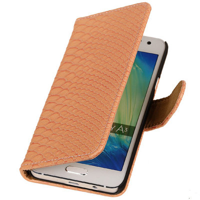 "BC "" Slang "" Roze Hoesje voor Samsung Galaxy A3 2015 Bookcase Cover"