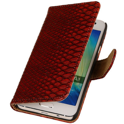 "BC "" Slang "" Rood Samsung Galaxy A3 2015 Bookcase Cover Hoesje"