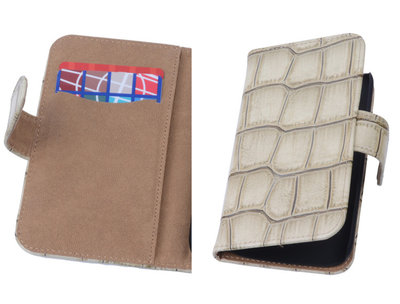 Beige Croco Hoesje voor Samsung Galaxy Core Book/Wallet Case/Cover