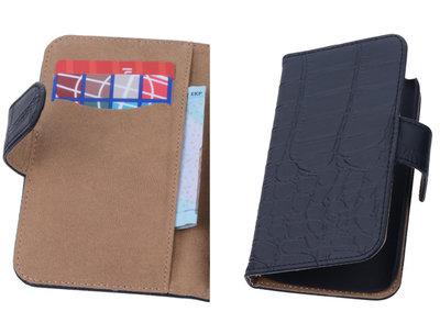 Zwart Croco Hoesje voor Motorola Moto X 2014 s Book/Wallet Case/Cover