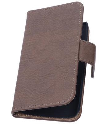 Bruin Hout Hoesje voor Apple iPhone 4 4s TV Stand Cover Book/Wallet Case