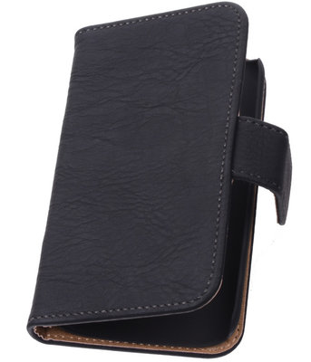 Zwart Hout Hoesje voor Apple iPhone 4 4s TV Stand Cover Book/Wallet Case