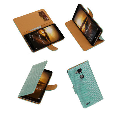 BC Slang Turquoise Hoesje voor Huawei Ascend Mate 7 Stand Bookcase Cover