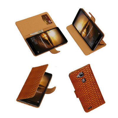 BC Slang Bruin Hoesje voor Huawei Ascend Mate 7 Stand Bookcase Cover