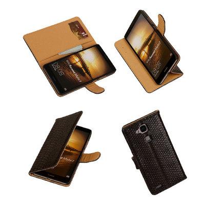 Hoesje voor Huawei Ascend Mate 7 Slang booktype Zwart