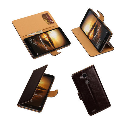 PU Leder Mocca Hoesje voor Huawei Ascend Mate 7 Stand Book/Wallet Case/Cover