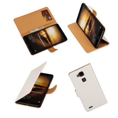 PU Leder Wit Hoesje voor Huawei Ascend Mate 7 Stand Book/Wallet Case/Cover