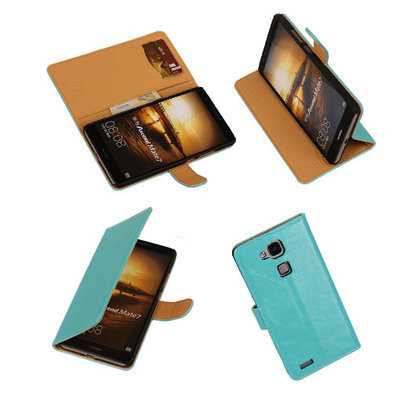 PU Leder Turquoise Hoesje voor Huawei Ascend Mate 7 Stand Book/Wallet Case/Cover