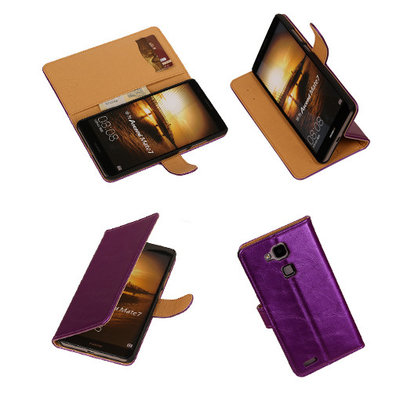 PU Leder Lila Hoesje voor Huawei Ascend Mate 7 Stand Book/Wallet Case/Cover