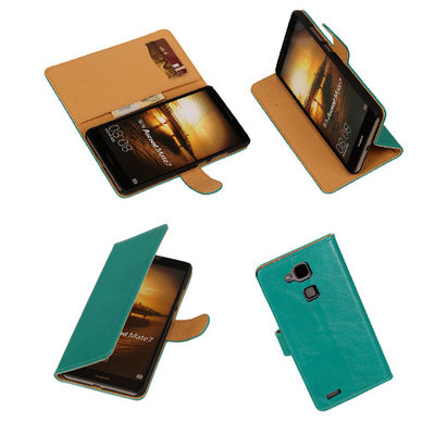 PU Leder Groen Hoesje voor Huawei Ascend Mate 7 Stand Book/Wallet Case/Cover