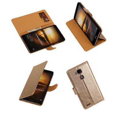 PU Leder Goud Hoesje voor Huawei Ascend Mate 7 Stand Book/Wallet Case/Cover
