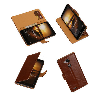 PU Leder Bruin Hoesje voor Huawei Ascend Mate 7 Stand Book/Wallet Case/Cover