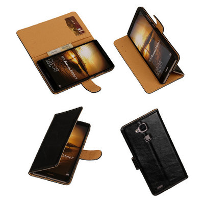 PU Leder Zwart Hoesje voor Huawei Ascend Mate 7 Stand Book/Wallet Case/Cover