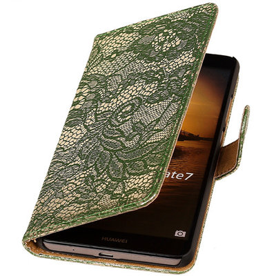 Lace Donker Groen Hoesje voor Huawei Ascend Mate 7 Book/Wallet Case/Cover