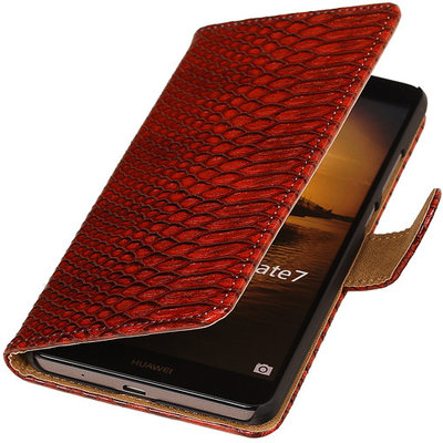 Rood Slang Hoesje voor Huawei Ascend Mate 7 Book/Wallet Case/Cover