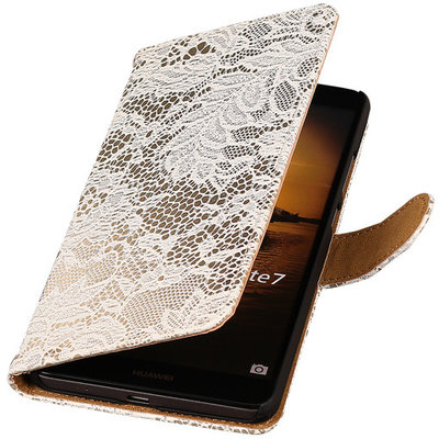 Lace Wit Hoesje voor Huawei Ascend Mate 7 Book/Wallet Case/Cover