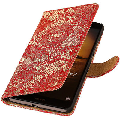 Lace Rood Hoesje voor Huawei Ascend Mate 7 Book/Wallet Case/Cover