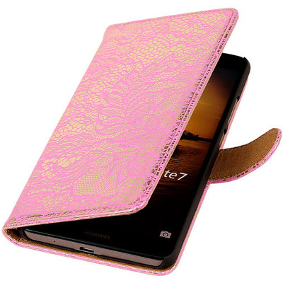 Lace Roze Hoesje voor Huawei Ascend Mate 7 Book/Wallet Case/Cover