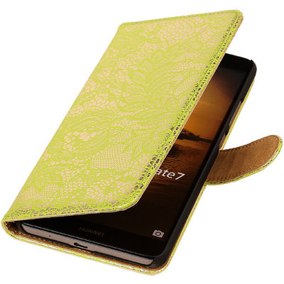 Lace Groen Hoesje voor Huawei Ascend Mate 7 Book/Wallet Case/Cover