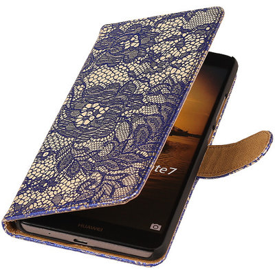 Lace Blauw Huawei Ascend Mate 7 Book/Wallet Case/Cover Hoesje