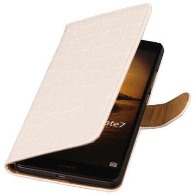 Wit Croco Hoesje voor Huawei Ascend Mate 7 Book/Wallet Case/Cover