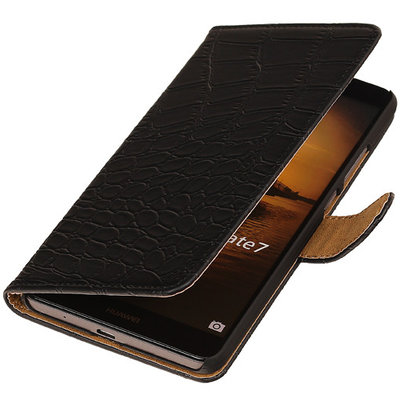 Zwart Croco Hoesje voor Huawei Ascend Mate 7 Book/Wallet Case/Cover