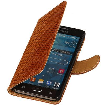 Bruin Slang Hoesje voor Samsung Galaxy Grand Prime Bookcase Cover