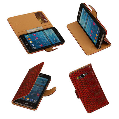 "BC "" Slang "" Rood Hoesje voor Samsung Galaxy Grand Prime Bookcase Cover"