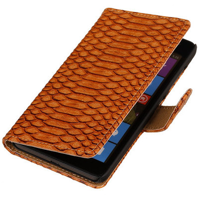BC Slang Bruin Hoesje voor Microsoft Lumia 535 Stand Bookcase Wallet Cover