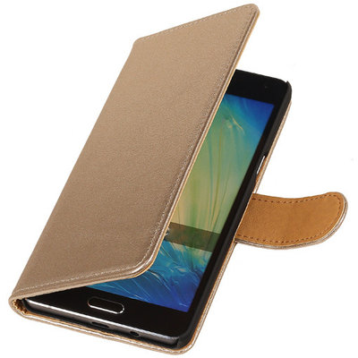 PU Leder Goud Hoesje voor Microsoft Lumia 535 Book/Wallet Case/Cover