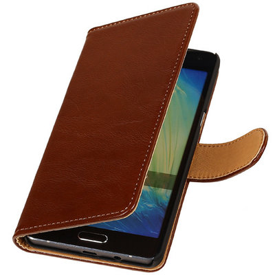 PU Leder Bruin Hoesje voor Microsoft Lumia 535 Book/Wallet Case/Cover
