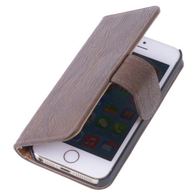 Donker Bruin Hout Hoesje voor Apple iPhone 4 4s TV Stand Cover Book/Wallet Case