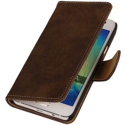 Donker Bruin Hout Hoesje voor Huawei Ascend Mate 7 Book/Wallet Case/Cover