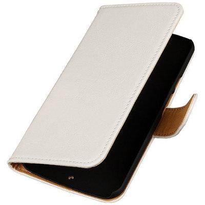 PU Leder Wit Hoesje voor HTC Desire Eye Book/Wallet Case/Cover