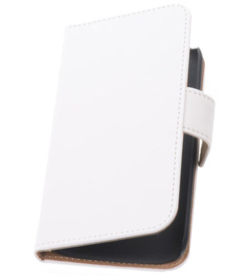 Wit Hoesje voor Samsung Galaxy Core LTE Book/Wallet Case/Cover