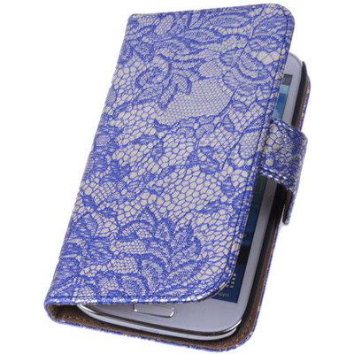 Lace Blauw Hoesje voor Samsung Galaxy Core 4G/LTE G386F Book/Wallet Case
