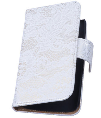 Lace Wit Hoesje voor Samsung Galaxy Core 4G/LTE G386F Book/Wallet Case