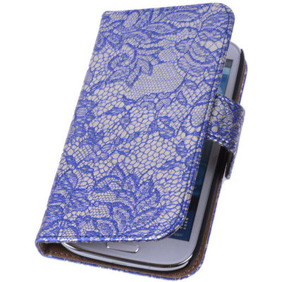 Lace Blauw Hoesje voor Huawei Ascend G6 4G Book/Wallet Case/Cover