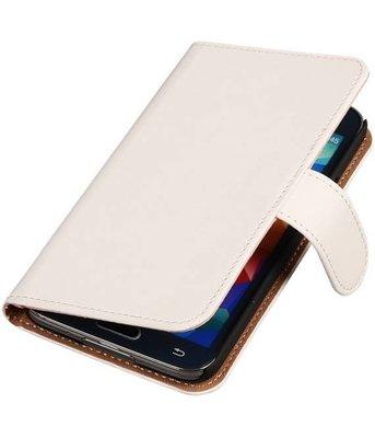 Wit Hoesje voor Samsung Galaxy S5 (Plus) Book Wallet Case
