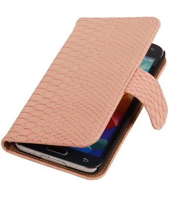 Licht Roze Slang Hoesje voor Samsung Galaxy S5 (Plus) Book/Wallet Case/Cover