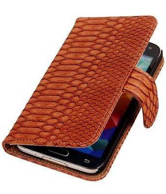 Bruin Slang Hoesje voor Samsung Galaxy S5 (Plus) Book/Wallet Case/Cover