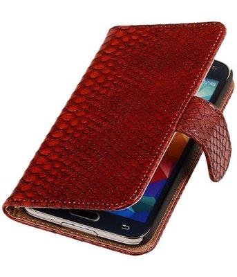 Rood Slang Hoesje voor Samsung Galaxy S5 (Plus) Book/Wallet Case/Cover