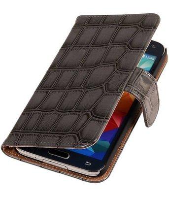 Grijs Krokodil Booktype Samsung Galaxy S5 Wallet Cover Hoesje