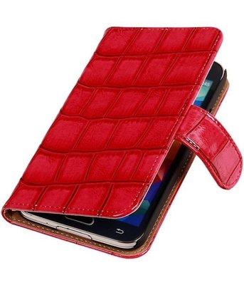Roze Krokodil Booktype Hoesje voor Samsung Galaxy S5 Wallet Cover