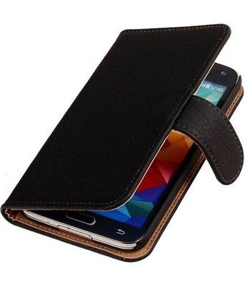 Hout Zwart Samsung Galaxy S5 (Plus) Book Wallet Case Hoesje